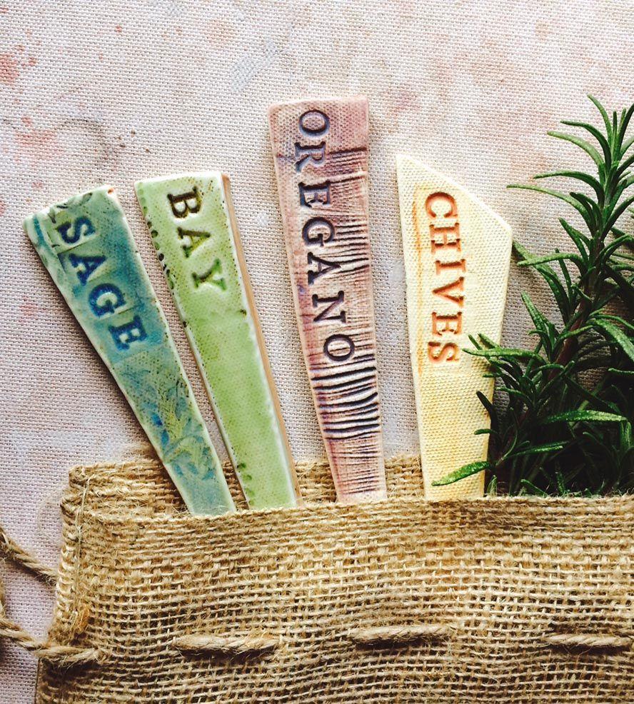 Good Ceramic Herb Garden Marker Set