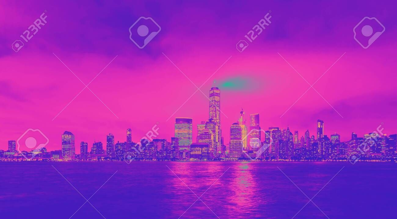 Lower Manhattan skyline and the Hudson river as seen from Jersey City funky gradient Stock Photo , #Aff, #river, #Jersey, #Hudson, #Manhattan, #skyline