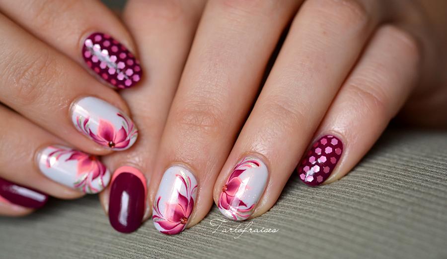 fleur-lotus-one-stroke-os-3 | nail art | Pinterest | Flower nail art ...