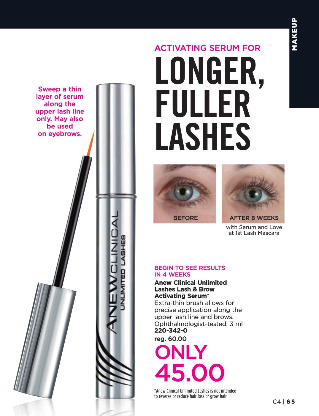 8ac068c2077 Anew Clinical Unlimited Lashes Lash and Brow Activating Serum. Extra thin  brush allows for precise application along the upper lash line and brows.