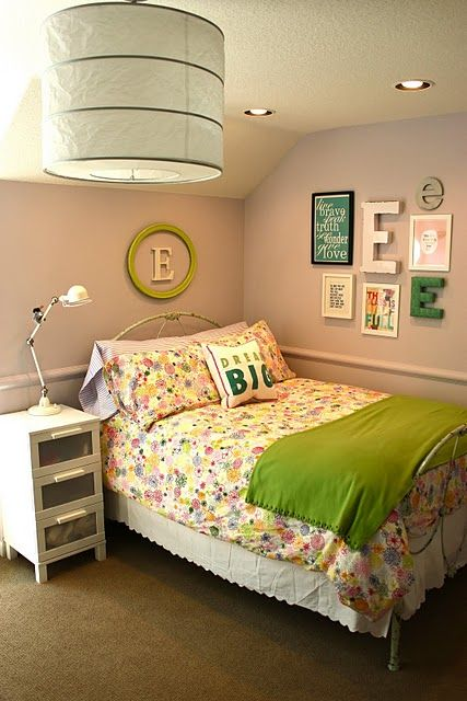 Love the light, the monogram above the bed, and the \
