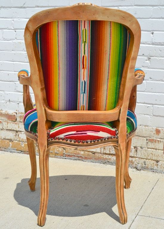 love this for kitchen table chairs or for living room accent chair! serape  chair - this is thinking outside of the box. - Great Southwest Dining Set, Tables, Chairs, China Cabinets For