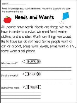 Needs and Wants Close Reading Passages and Activities   Activities ...