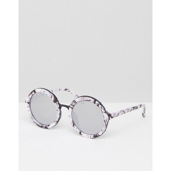 Skinnydip Round Sunglasses in Marble Print (€41) ❤ liked on Polyvore featuring accessories, eyewear, sunglasses, multi, round frame glasses, round glasses, glitter sunglasses, round sunglasses and dark tinted sunglasses