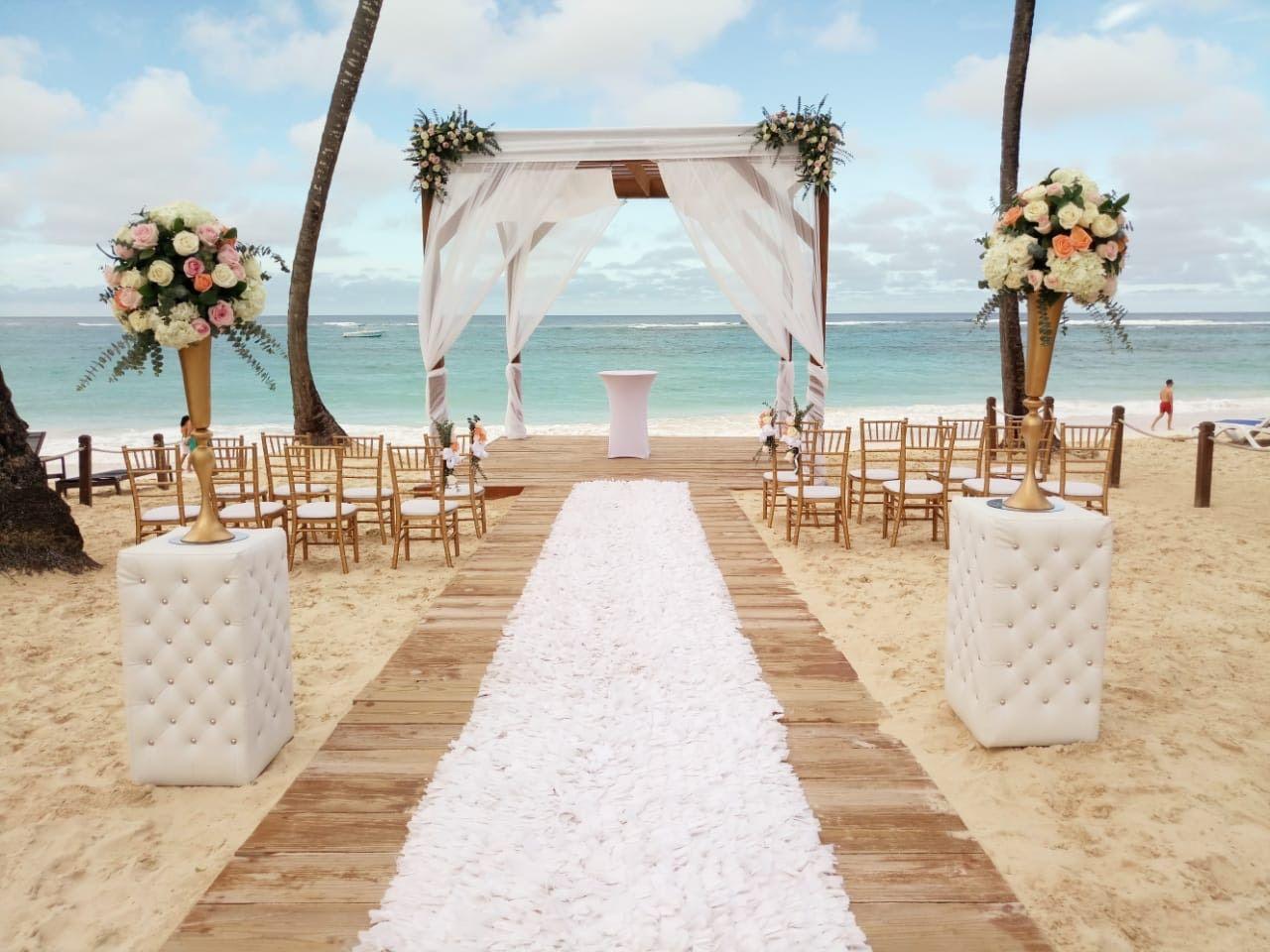 Beach Gazebo Ceremony With Add On Pillars Punta Cana Beach Punta Cana Wedding Royalton Punta Cana
