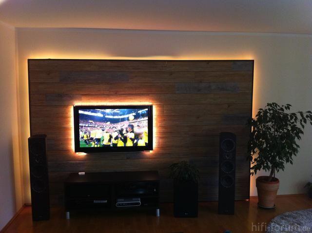 Wohnzimmer Steinwand TV LED Haus Pinterest