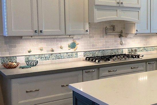 Coastal Kitchen Backsplash Ideas With Mosaic Tiles Beach Murals Coastal Kitchen Kitchen Backsplash Kitchen Tile