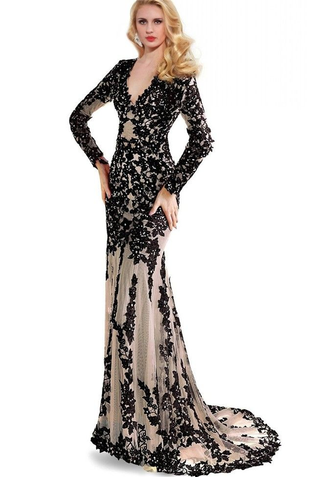 6202f00379aee Slim Mermaid V Neck Cutout Back Long Sleeve Black Lace Prom Dress in ...