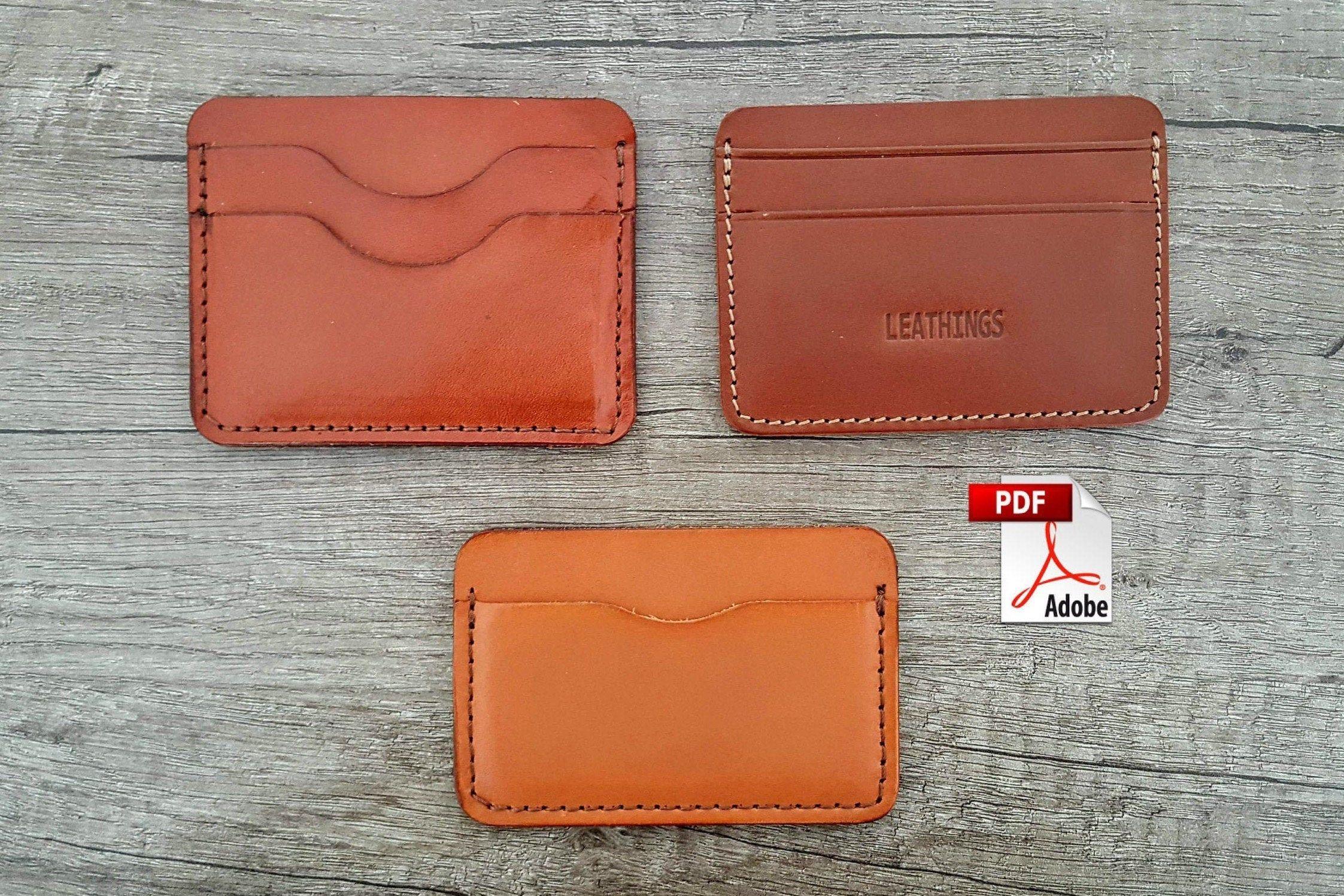 Pdf Slim Card Wallet Patterns 3 Different Pattern Leather Card Holders Template Minimal Front Pocket Diy Make Leather Credit Card Crafts