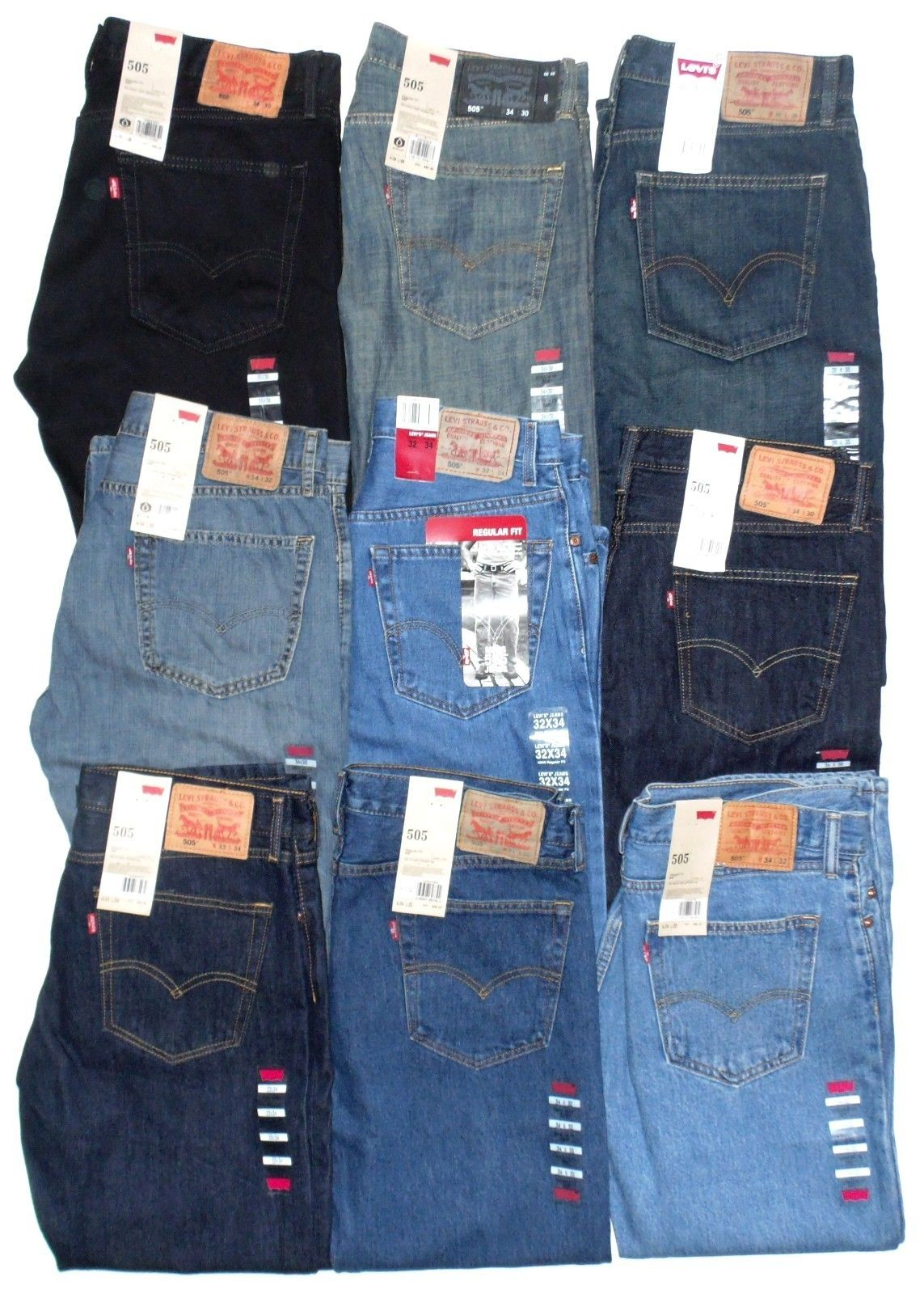 22712f882 $58 LEVIS JEANS~~~505 STRAIGHT FIT~~~MANY SIZES & COLORS~~~NEW WITH ...
