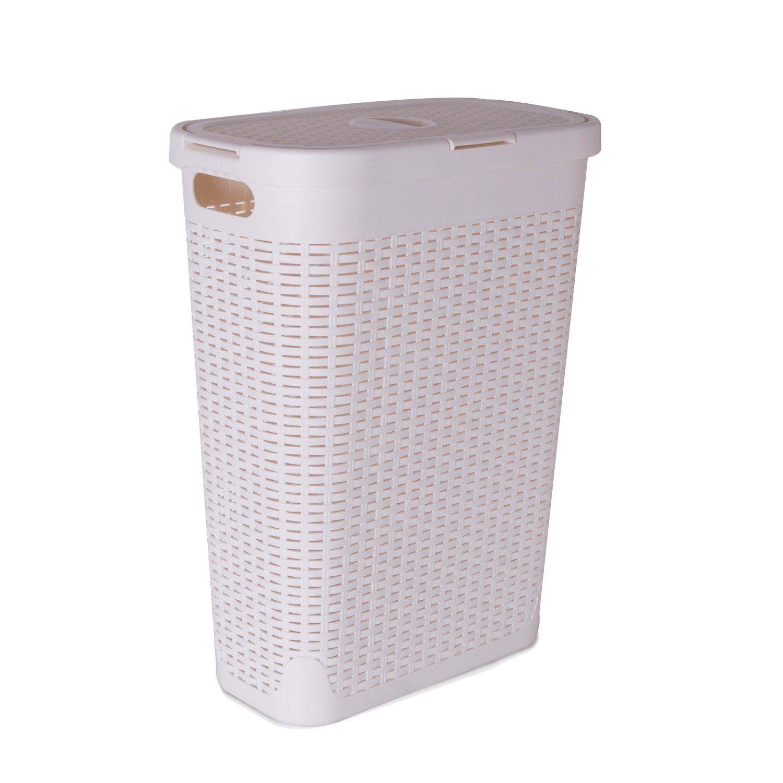 Panier A Linge Plastique Cottage Blanc L 26 8 X H 60 X P 46 2 Cm Panier A Linge Plastique Panier Et Plastique