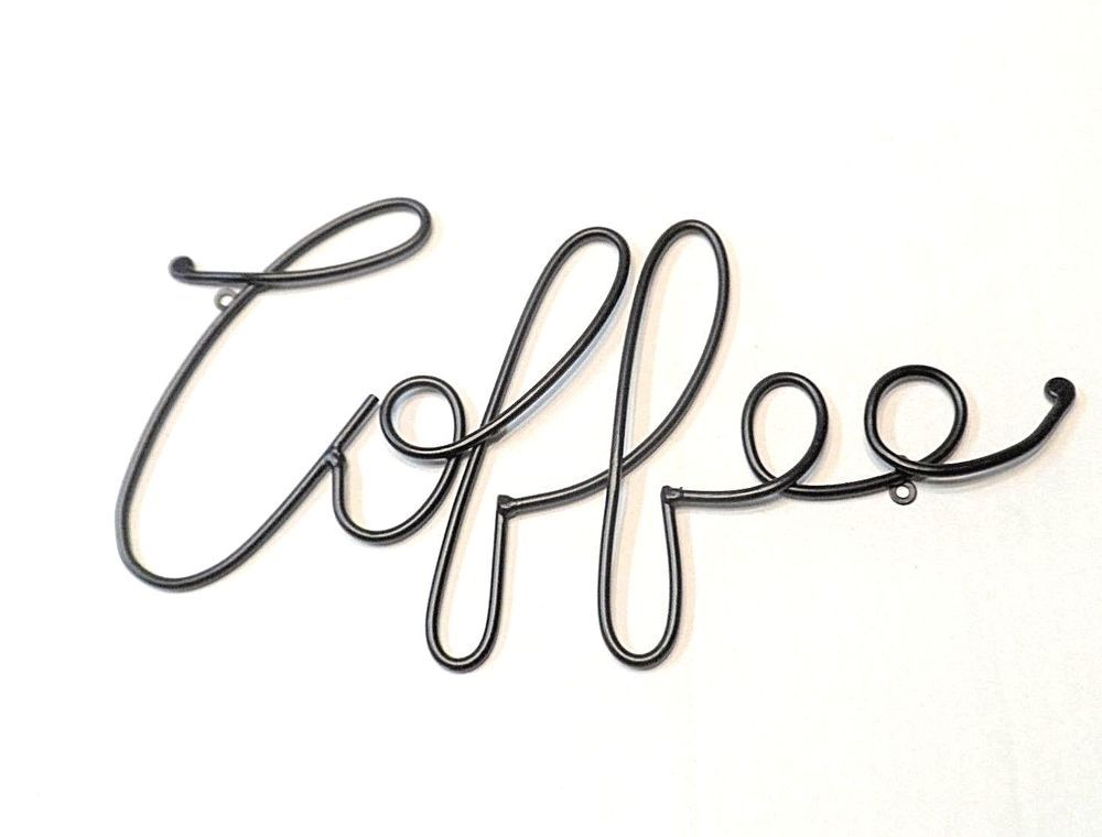 Black Iron Metal Coffee Wall Sculpture Sign Hanging Decor Measures Approx 8 Tall X 14 5 Wide See Over 650 Coffee Signs Metal Coffee Sign Cafe Barista