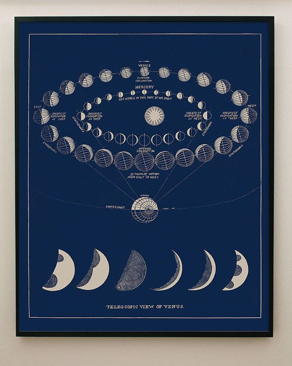 Blue Moon Phases Print with Transit of Venus by CapricornPress