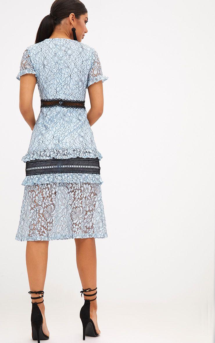 ff633337e5a04 Dusty Blue Lace Ruffle Detail Midi Dress