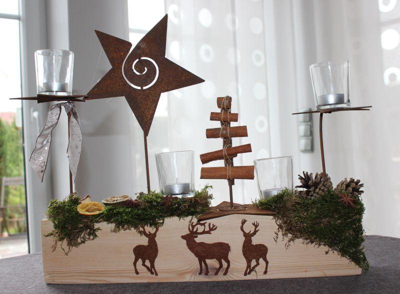 Tischdeko weihnachten natur  AW20 – Holzblock als Tischdeko! Dekoriert mit Edelroststernen als ...