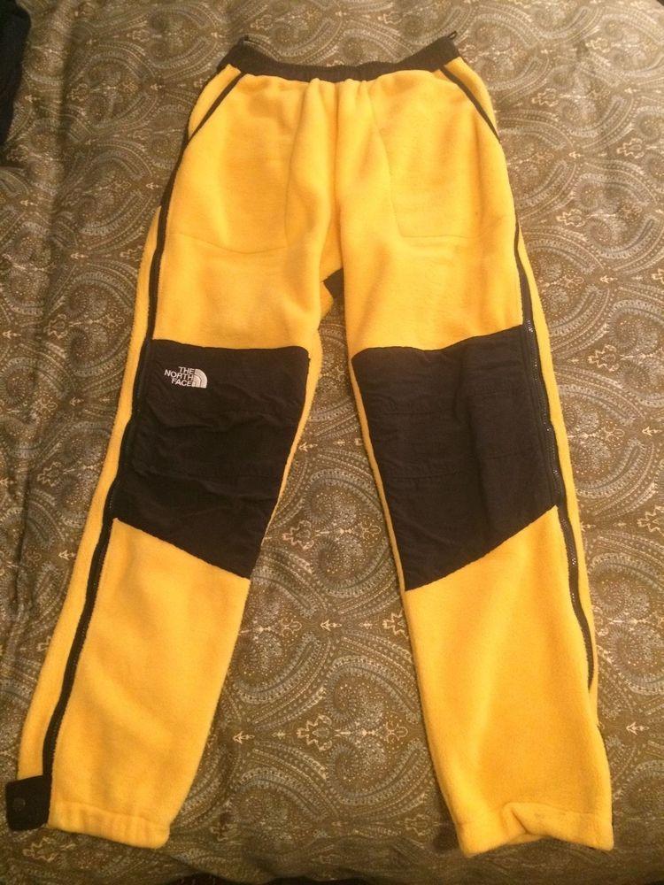 THE NORTH FACE Black Yellow Denali Fleece Nylon Mens Winter Pants - Medium  #TheNorthFace #