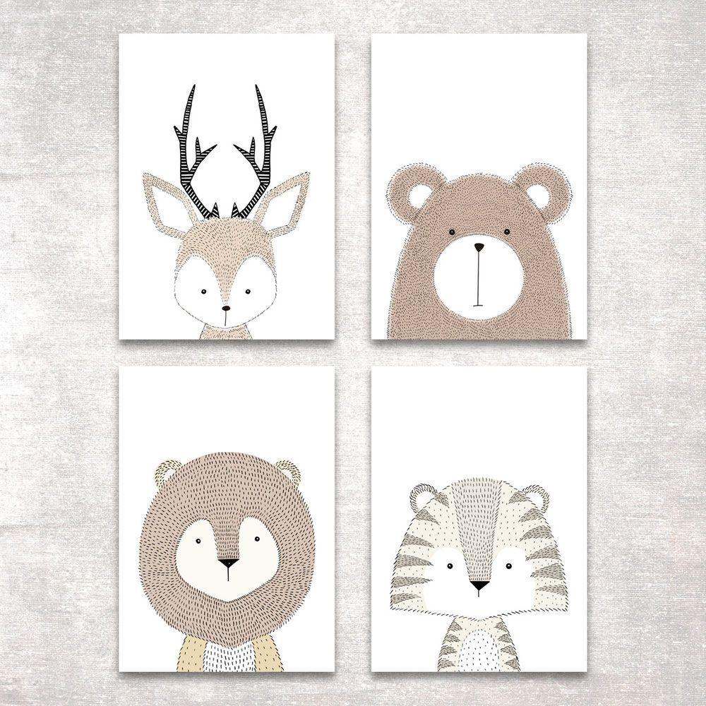 Bild Set Tiere Kunstdruck A4 Hirsch Bär Tiger Löwe Kinderzimmer Deko ...