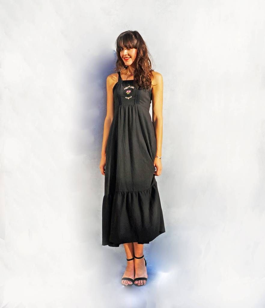 Long black casual maxi dress adaus attic vintage ecommerce