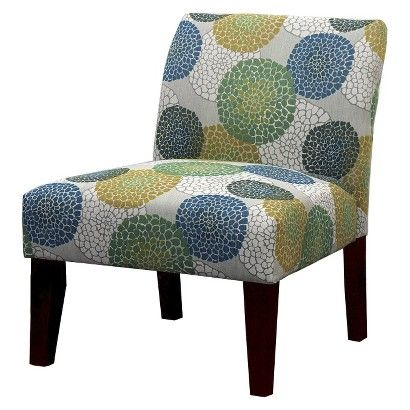 Best Avington Upholstered Slipper Chair Blue Green Yellow 400 x 300