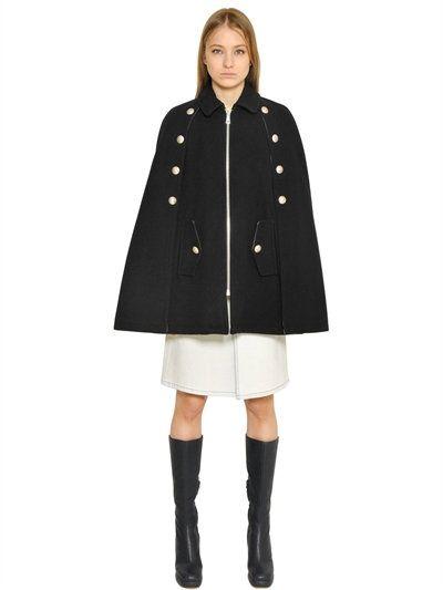 59b19dbb4c SEE BY CHLOÉ Button Detail Wool Cloth Cape, Black. #seebychloé ...