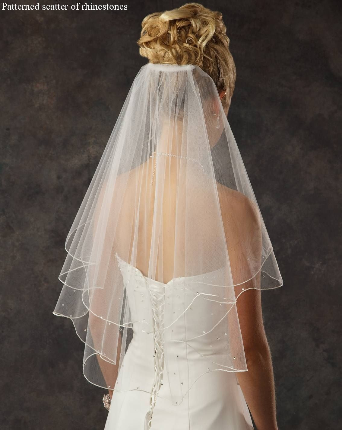 Two layer elbow length bridal veil with rhinestones many colors