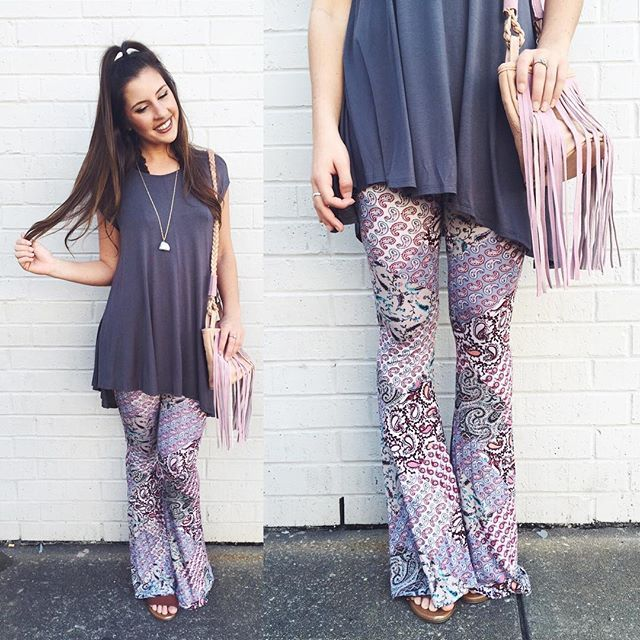 Channeling our inner Boho Barbie in our new printed bells and oversized top!