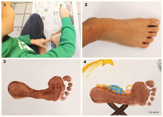 Collage Bambini ~ Collage come fare gesù bambino con i piedi biglietto di natale