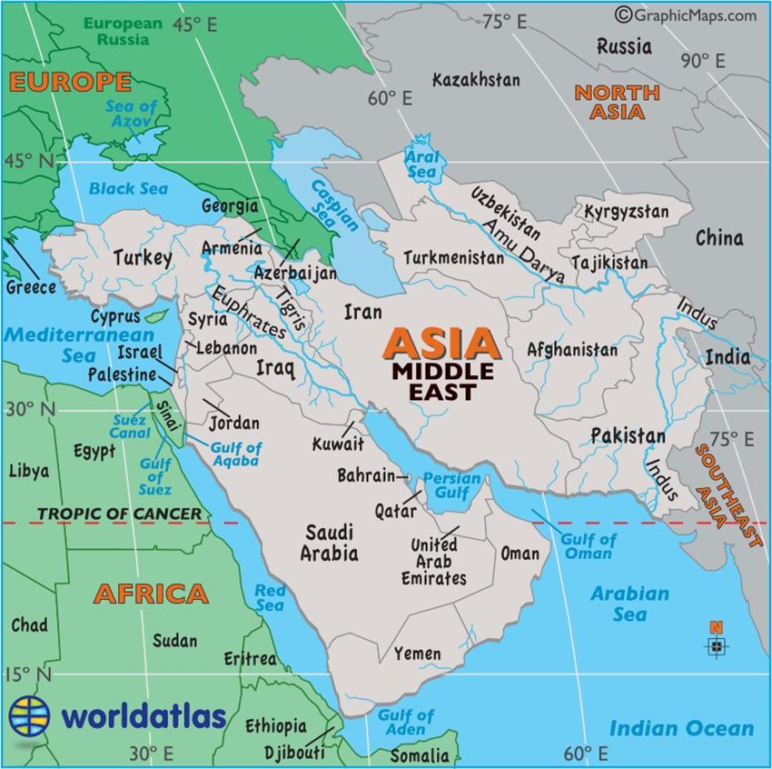 Large map of Middle East easy to read and printable  Simply