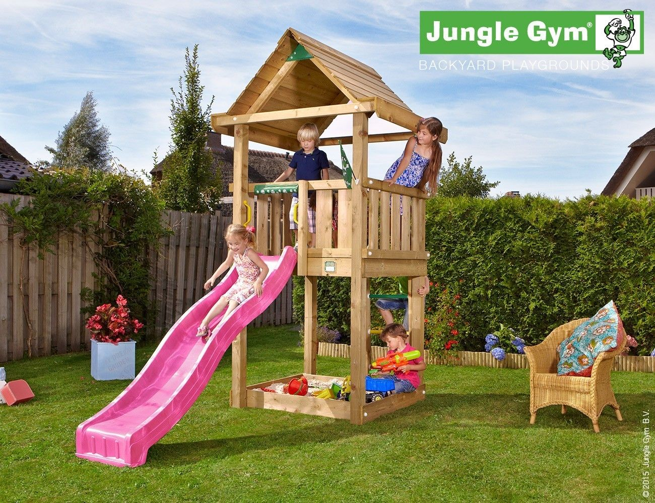 jungle gym house with slide standalone children play equipment
