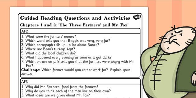 Fantastic Mr Fox Guided Reading Questions Chapters 1 And 2