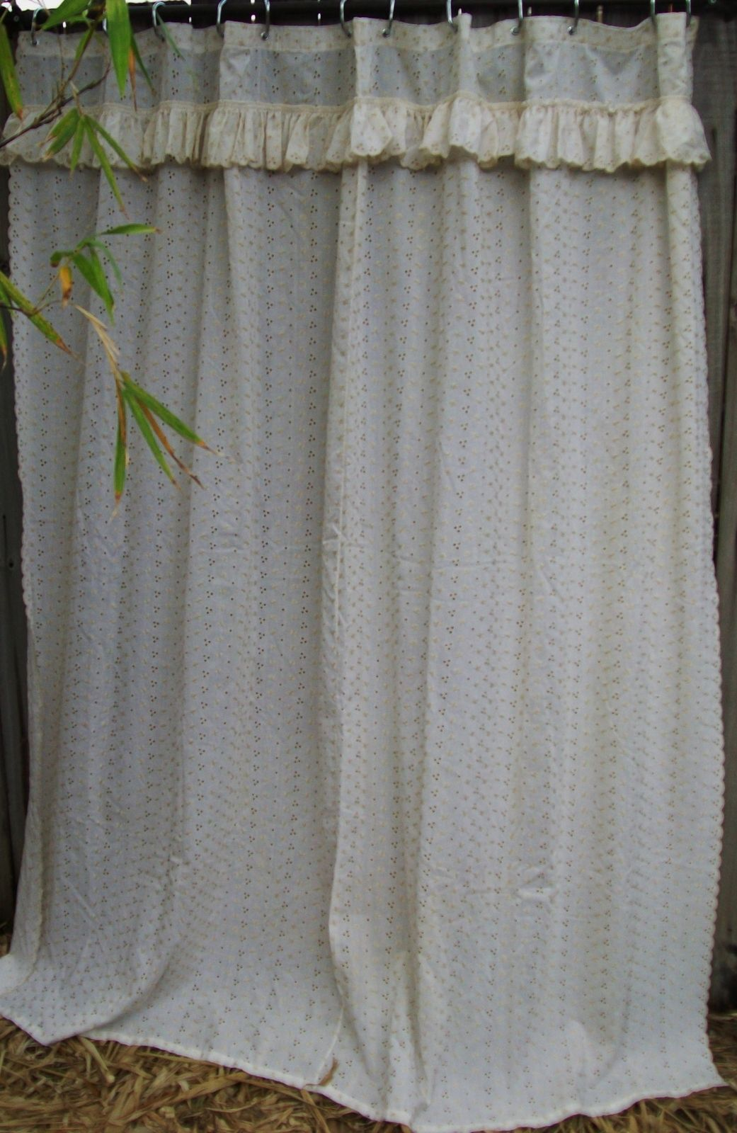 Jolo Ivory Lace Eyelet Fabric Shower Curtain With Attached Ruffled