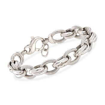 c0ae77ca53417 Italian Sterling Silver Textured and Polished Oval-Link Bracelet ...