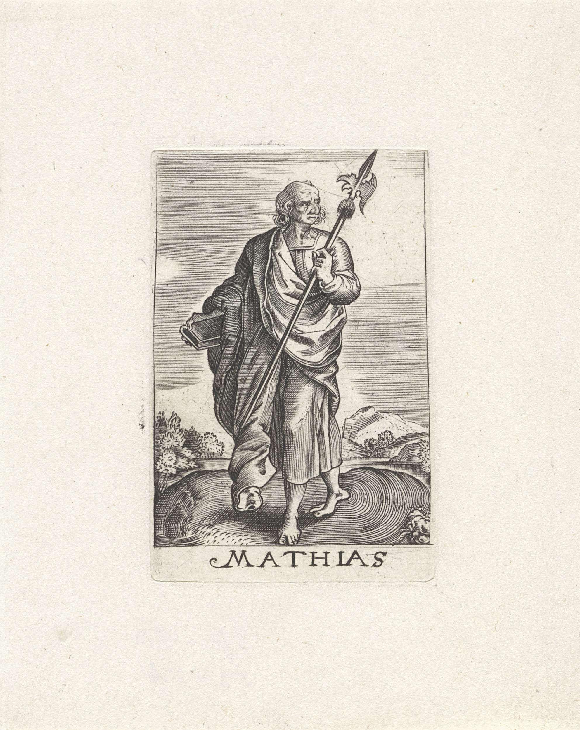 Johannes Wierix   H. Mattias, Johannes Wierix, Anonymous, 1579 - 1629   Landschap met de apostel Mattias. In zijn ene hand houdt hij een boek, in de andere een hellebaard.