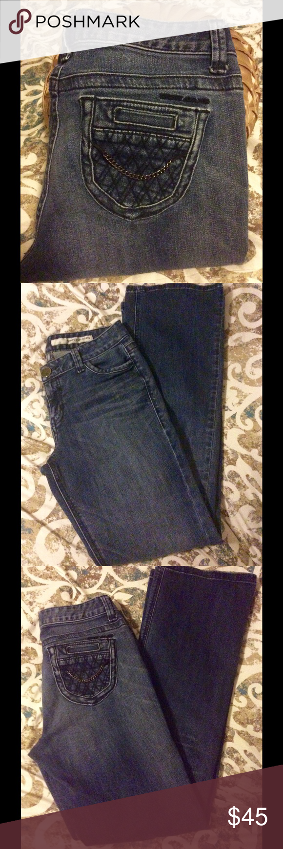 DKNY JEANS💕💕💕Size 6 💕In Perfect Condition worn once! DKNY Jeans Size 6!!!! Adorable pockets with chains! 💕Thank you so much for visiting my closet! If you have any questions please feel free to ask. 😁Also, comment your name below and I will check out your closet as well. 💕💕💕💕💕💕 DKNY JEANS Jeans