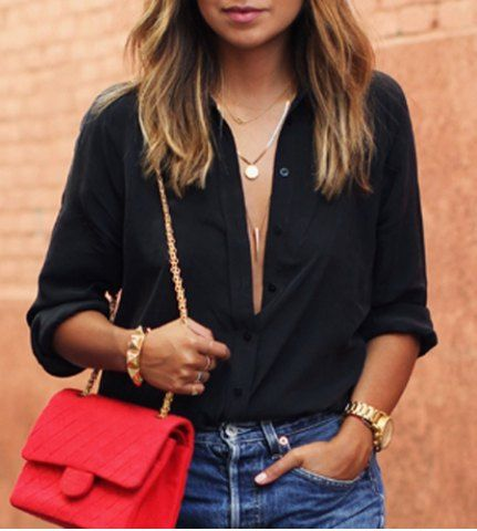 #Stylish Turn-Down Collar Black Single-Breasted Long Sleeve #Blouse For #Women