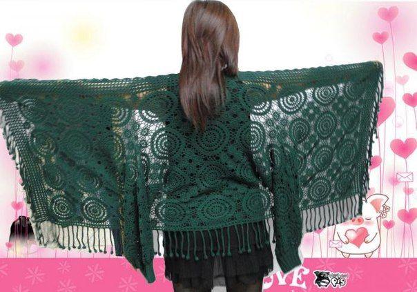 Delicadezas en crochet Gabriela: Mantón con mangas
