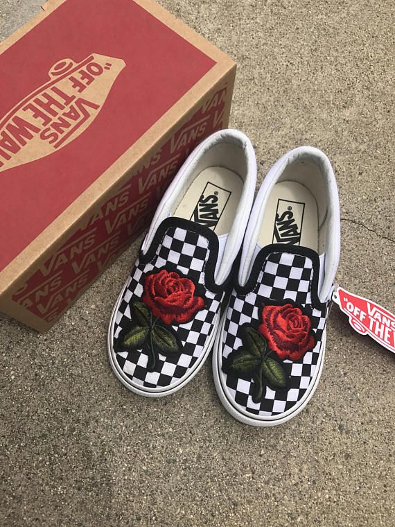 Unisex Kids Custom Rose Embroidery Slip on Vans Shoes - SALE Coupon Code  Inside 446dd79d2