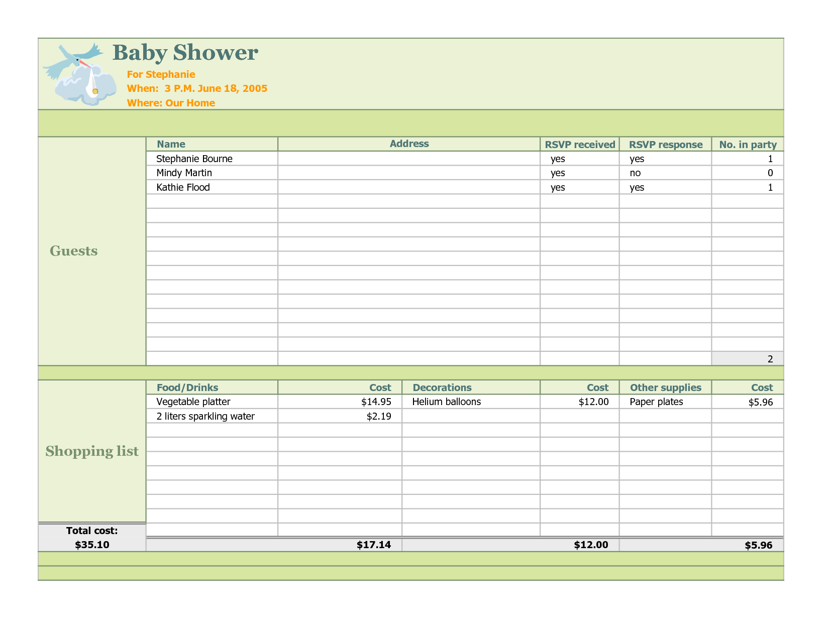 Baby Shower Planning Checklist | Baby Shower Planner Excel Template