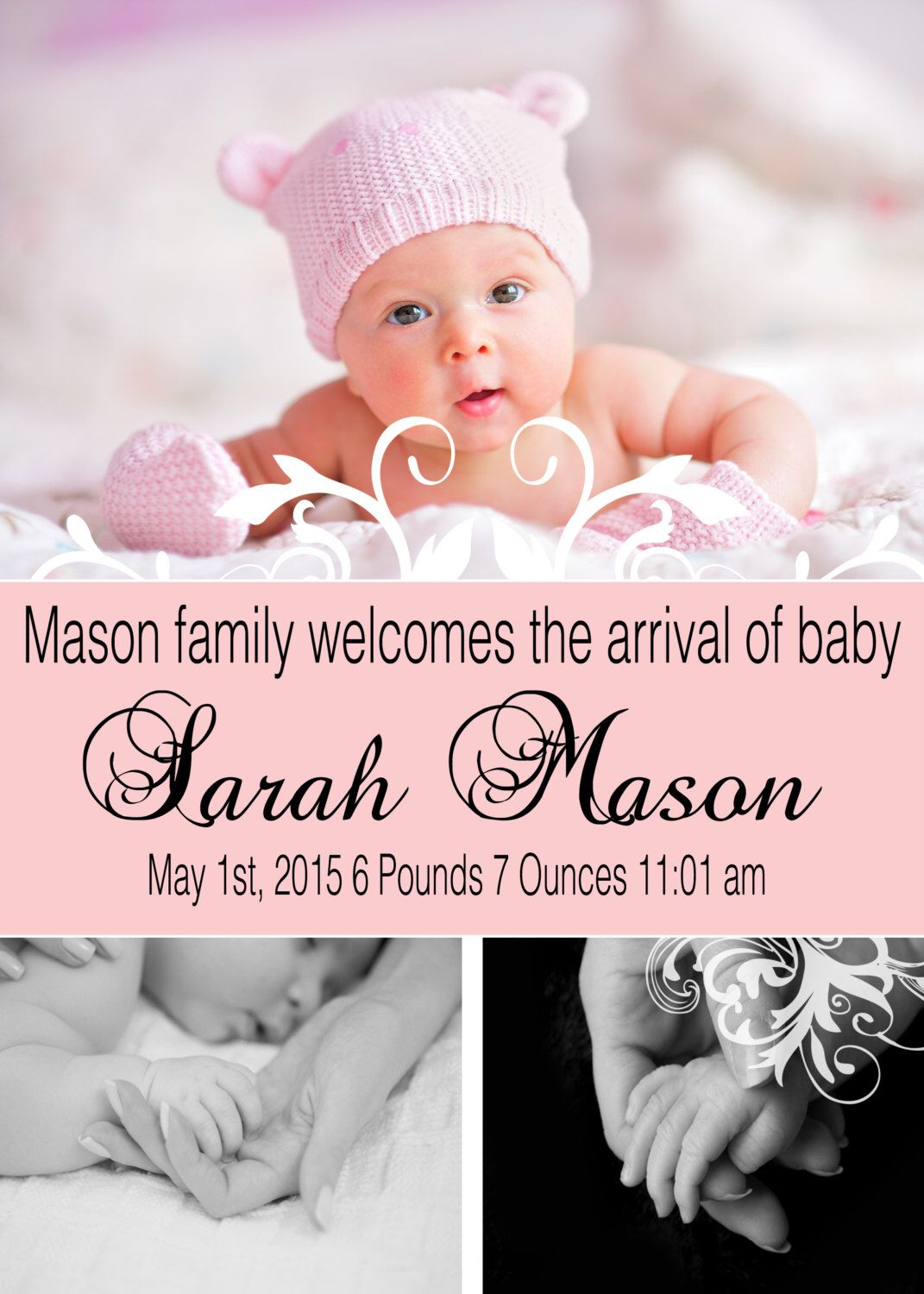 Baby Announcement - Birth Announcement - New Baby - new born announcement - Elegant baby announcement -   Pregnancy Announcement by PixelPreppers on Etsy https://www.etsy.com/listing/256440206/baby-announcement-birth-announcement-new