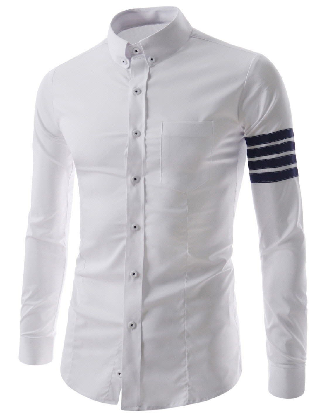 ab75056bef (CEL55) Mens Slim Fit Button Down Chest Pocket 4 Stripe Patch Long Sleeve  Shirts