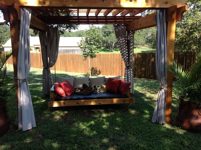 Learn how to build your own hanging day bed swing