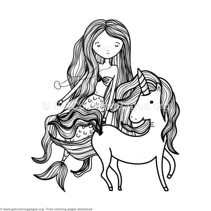 Sweet Mermaid and Unicorn Coloring Pages ...