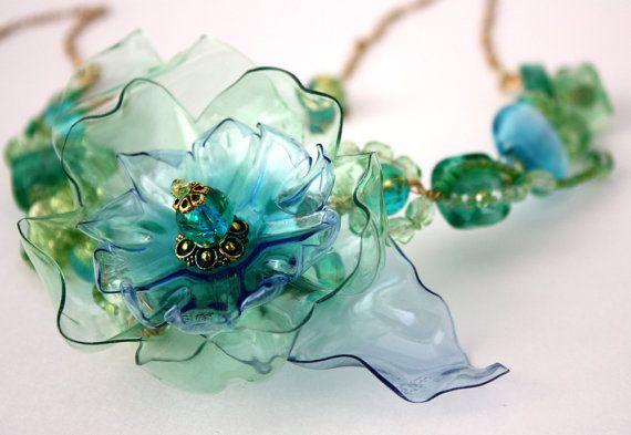 Plastic Bottle Flower Necklace by www.ArtePlastique.etsy.com