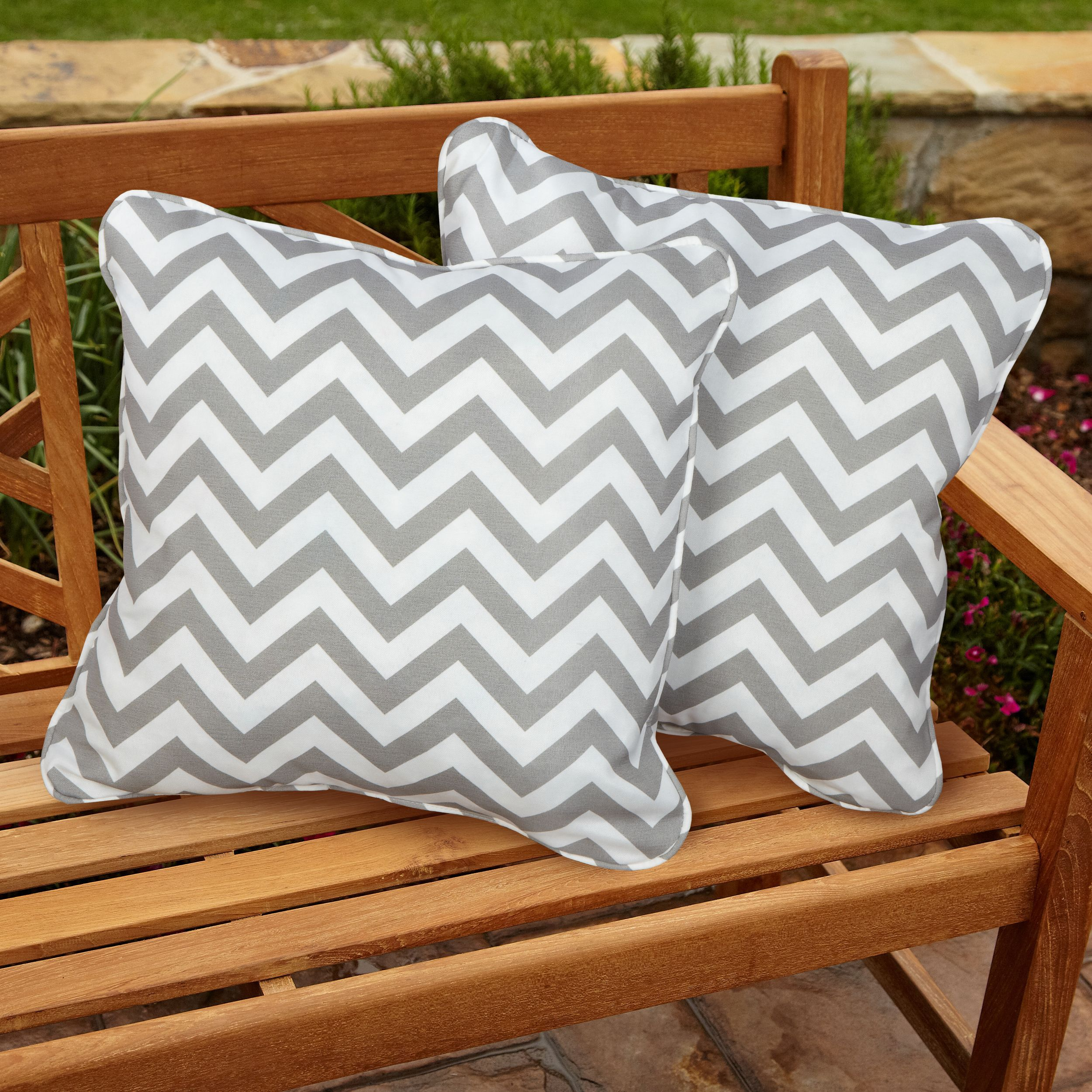 Chevron Grey Square Corded Indoor Outdoor Accent Pillows Set Of 2