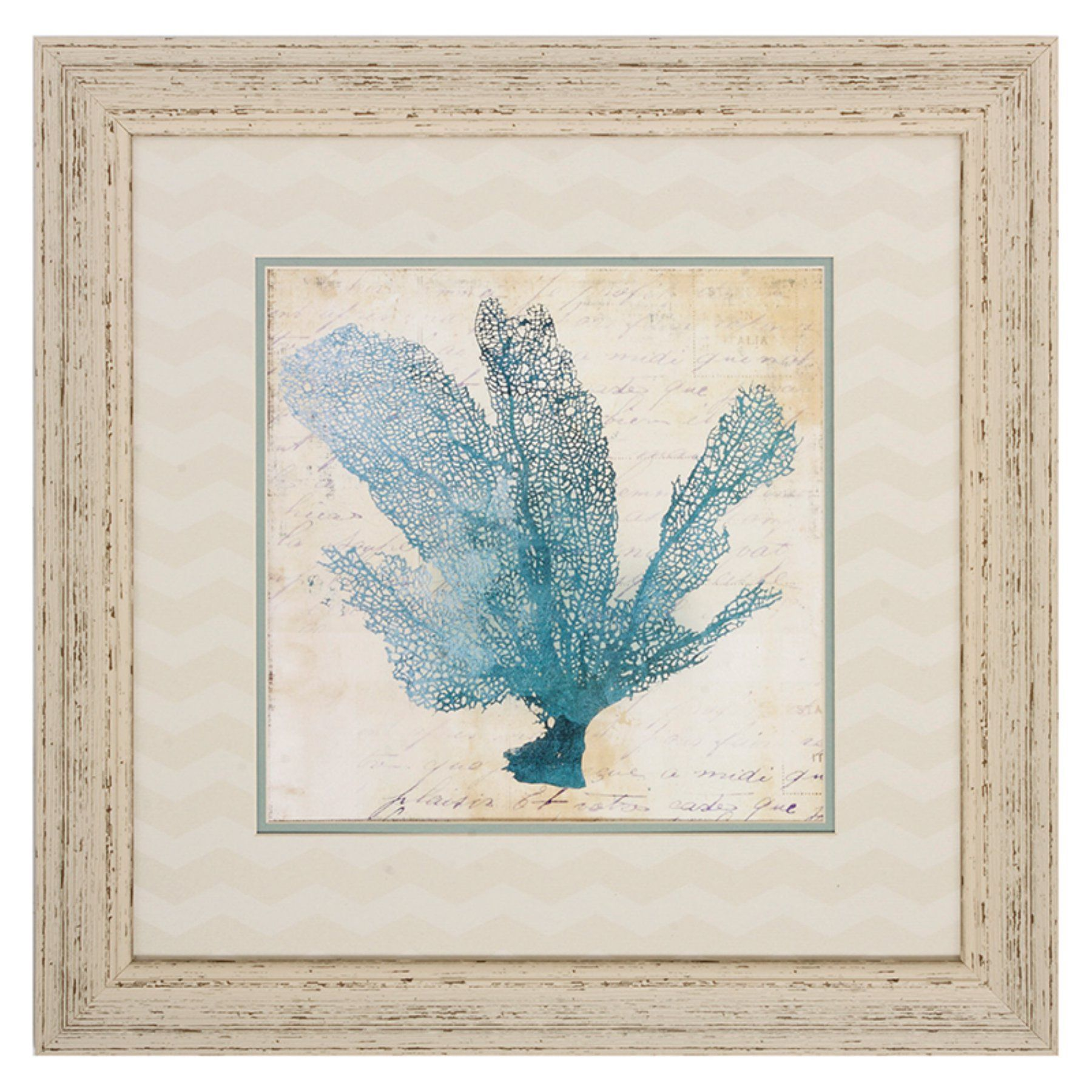 Blue Coral Framed Wall Art - Set of 4 - 22W x 22H in. ea. - 4738 ...
