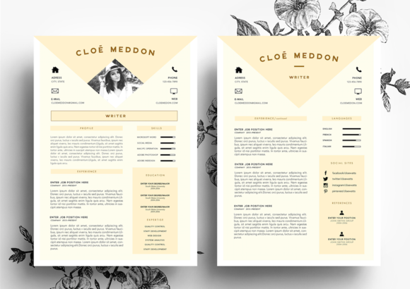 PeachBeige Resume Template By EmilyS Art Boutique On Creative