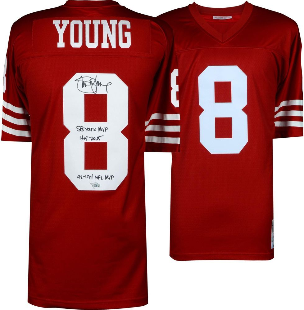 best value 8af86 ad9f9 Steve Young San Francisco 49ers Signed Red Replica M&N ...