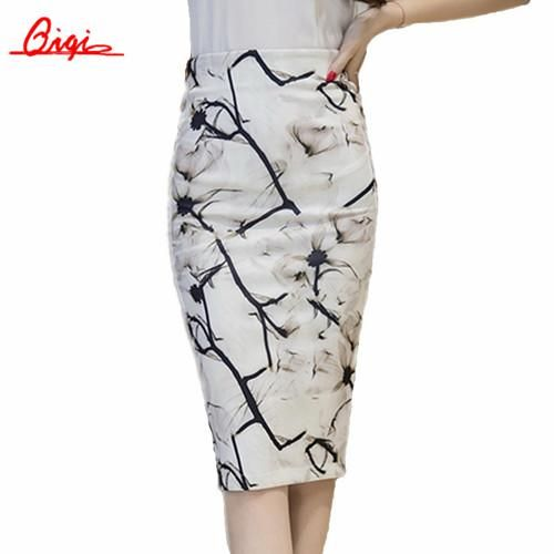 H Han Queen New Runway Ink Painting Print Pencil Bodycon Wrap Back Split High Waist Women Skirts Fashion Casual Plus Size Skirt