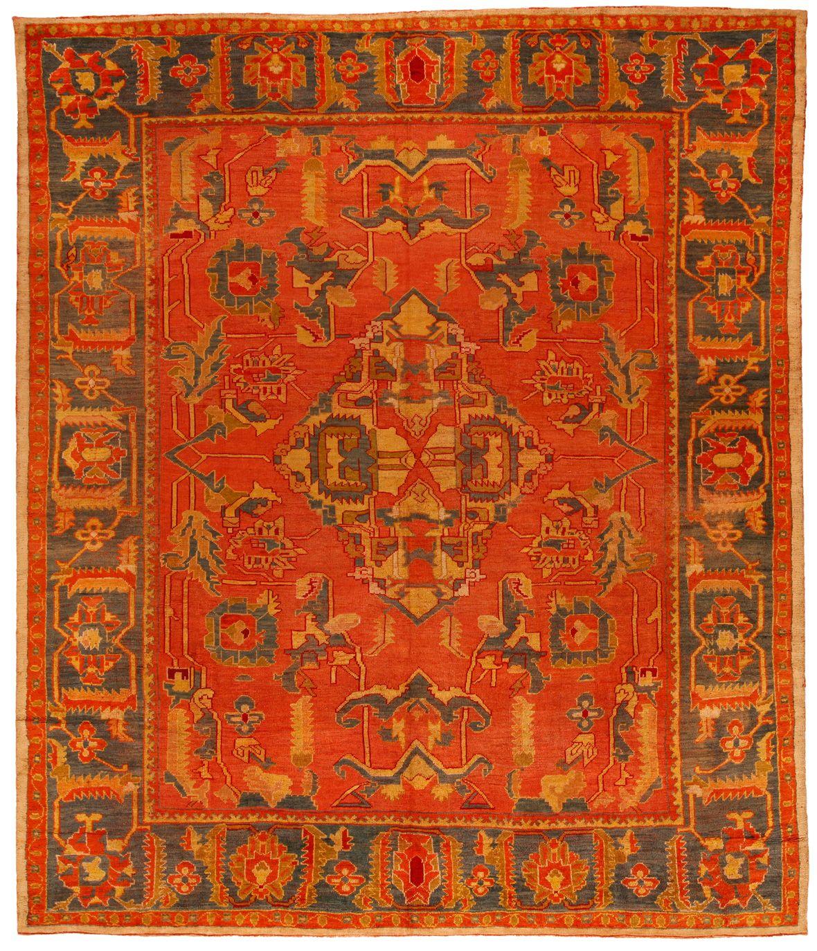 Antique Oushak Carpet 9.9 X 11.6 - Fred Moheban Gallery