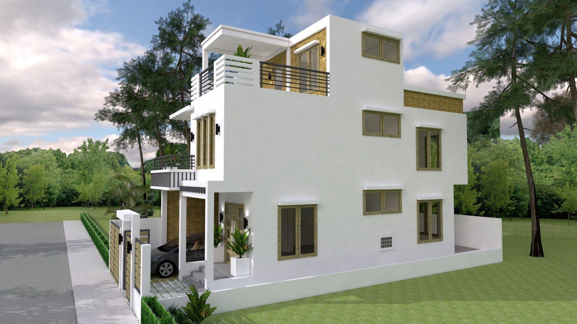 7x15m Simple Home Design Plan With 3 Bedrooms Casas Fachadas